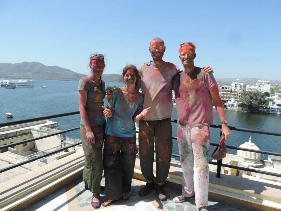 India Someday Guests posing after enjoying Holi celebrations in Udaipur