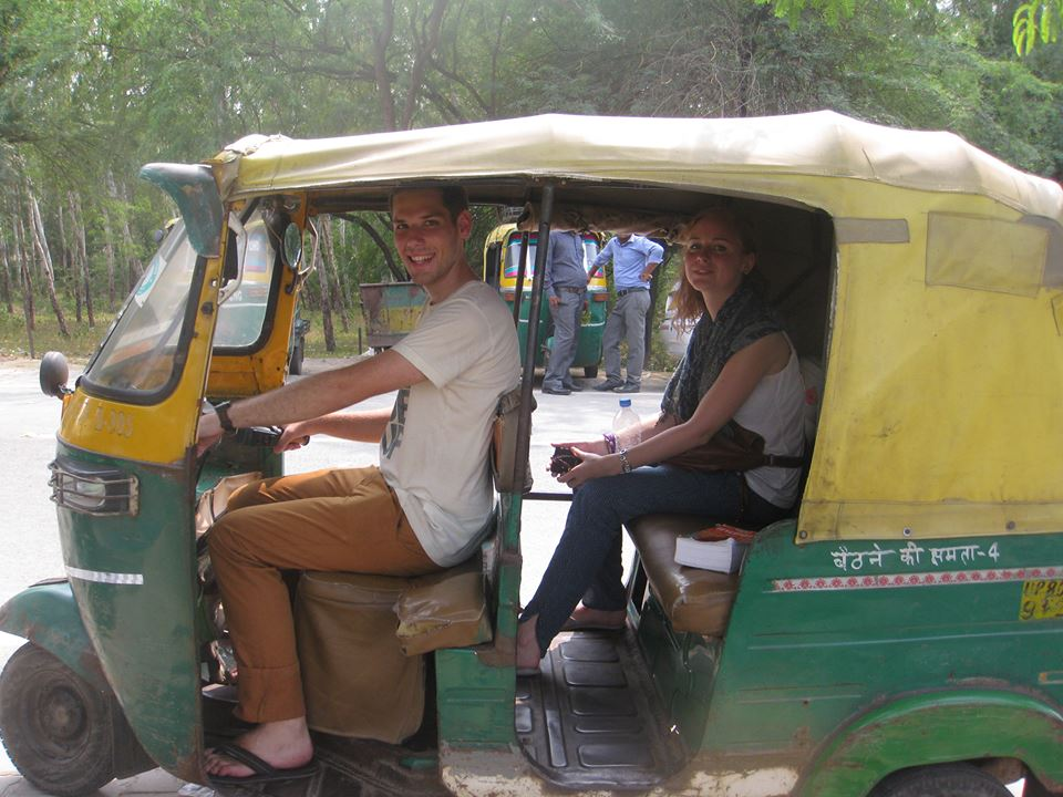 David (pretend) riding our Rickshaw
