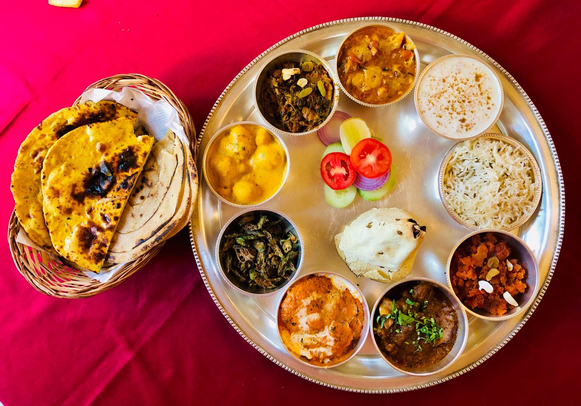 Rajasthani Thali, Local food in Rajasthan.