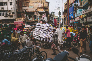 crowded streets in Old Delhi, India