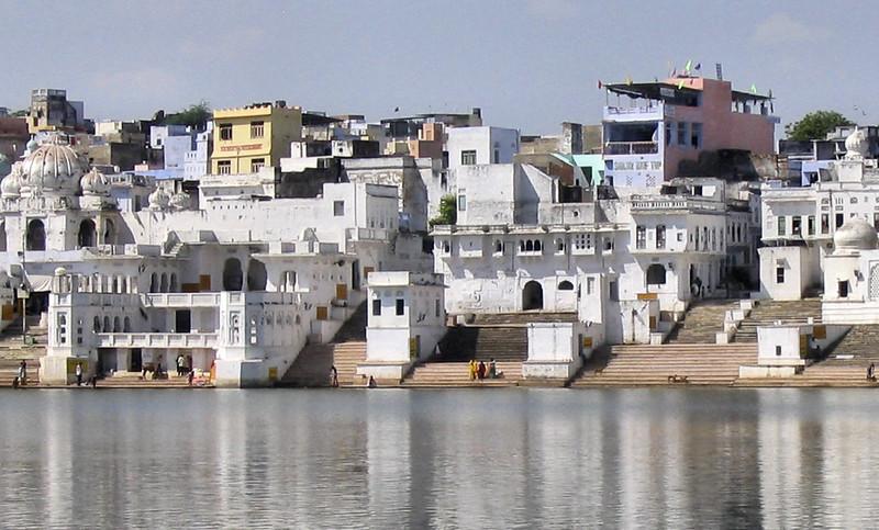 Beautiful veiw of temples, house near Pushkar lake