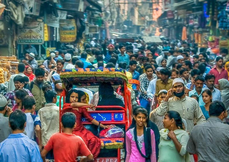 Vibrant crowded Old Delhi