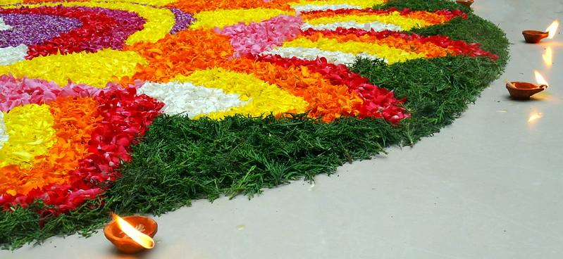 Rangoli of flowers and leaf