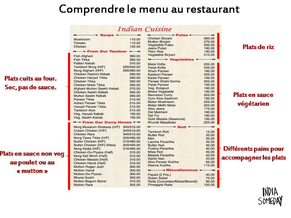 menu d'un restaurant indien