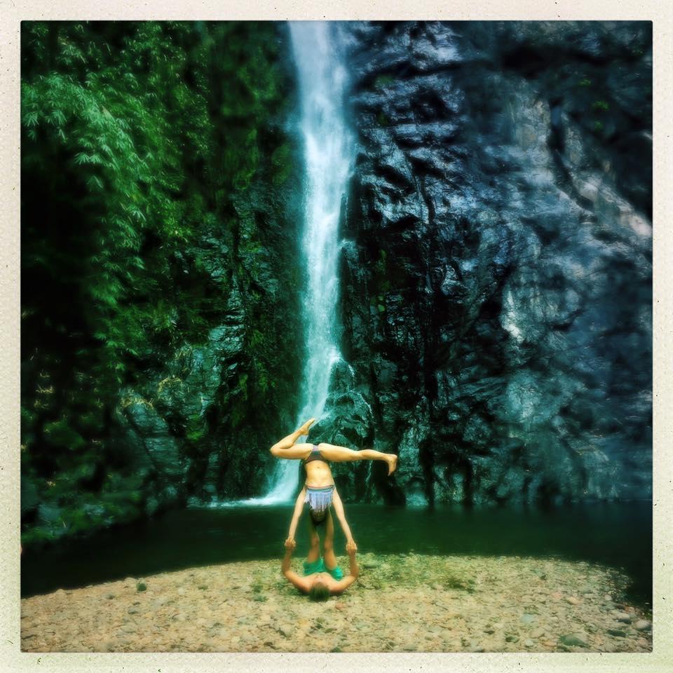 Yoga by a waterfall in Goa
