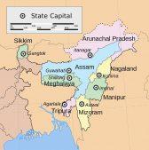 nordosten indiens, nordostindien, Karte