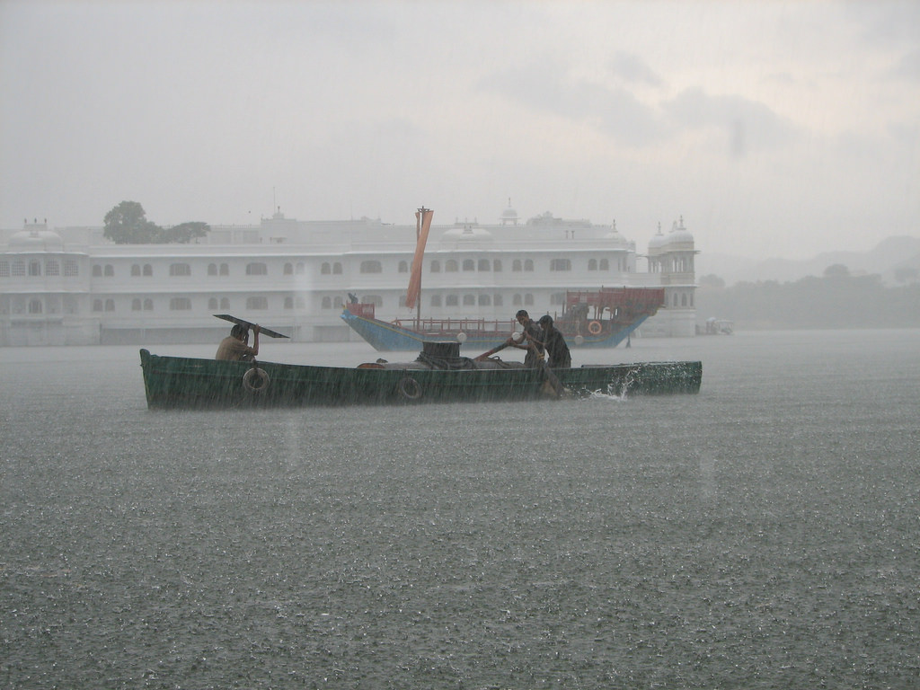 Rain over the Lakepalace in Udaipur, Rajasthan. Photo from Flickr, McKay Savage