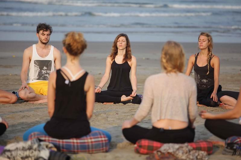 Yoga by the beach in Goa