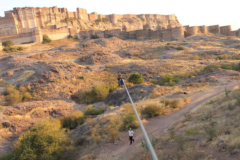 Ziplining at the Mehrangarh, Adventure activities to do in India