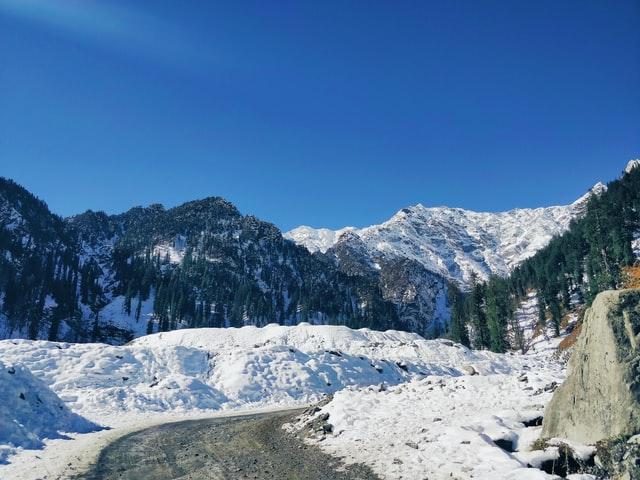 Traveling on snowy roads of Kullu